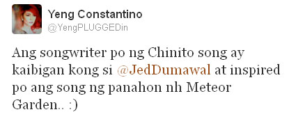 Yeng Tweet Inspiration To Chinito Song